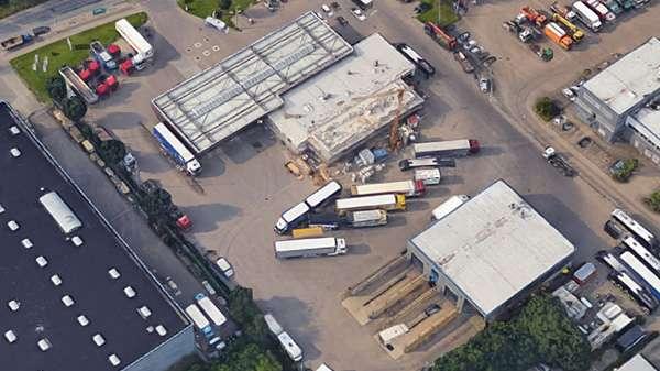 Areal des Autohof Rosenow in Kiel von oben